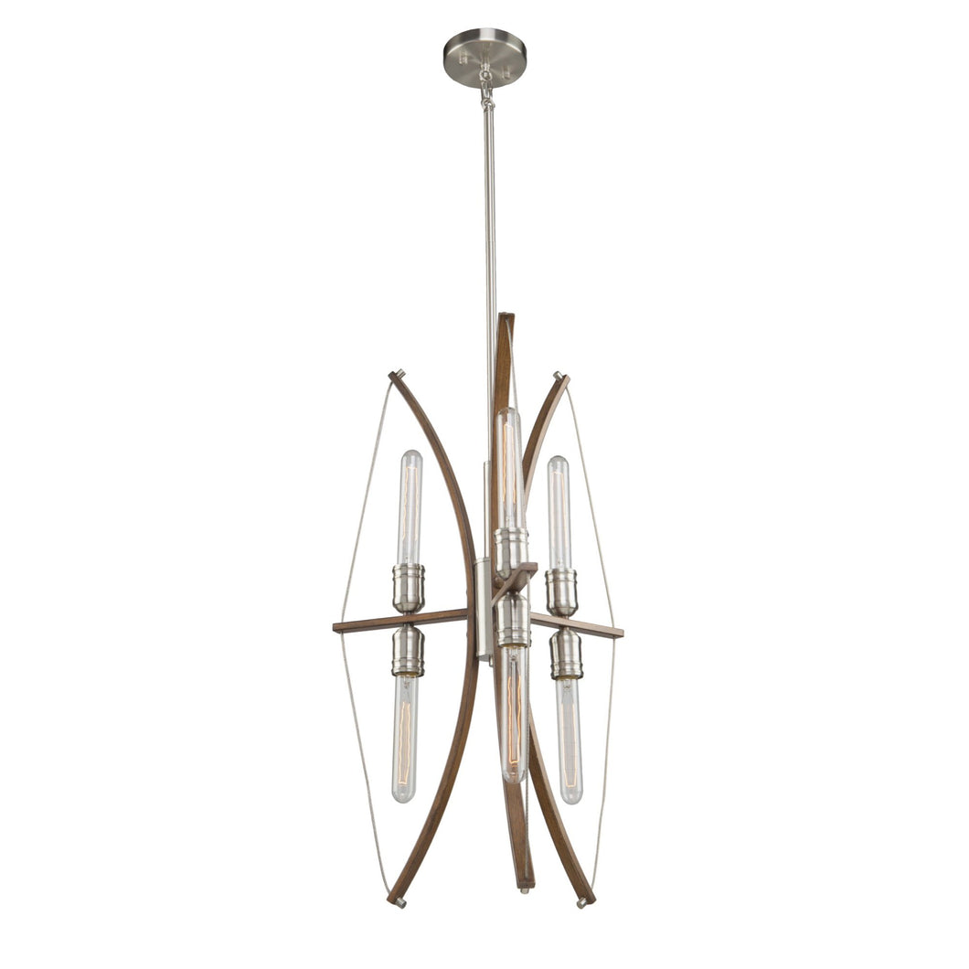 Artcraft Arco 18 in. wide Wood and Brushed Nickel Chandelier