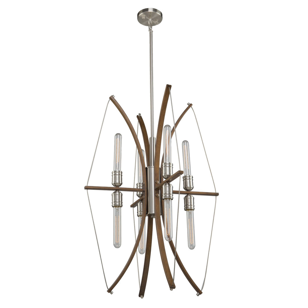 Arco 22 in. wide Wood and Brushed Nickel Chandelier