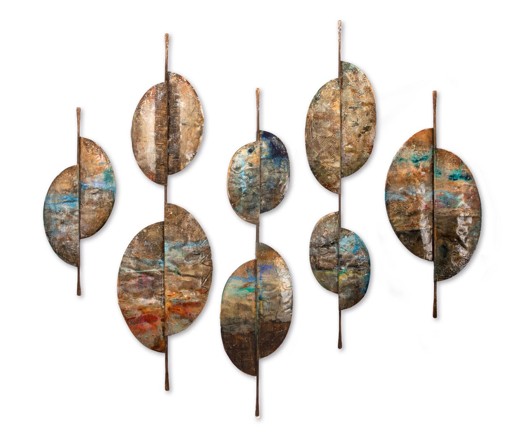 Bliss Hand Painted Crafted Steel Wall Sculpture, 5-Piece Set