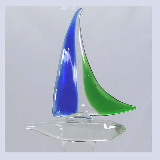 Blue Sailboat Hand Crafted Bottle Stopper