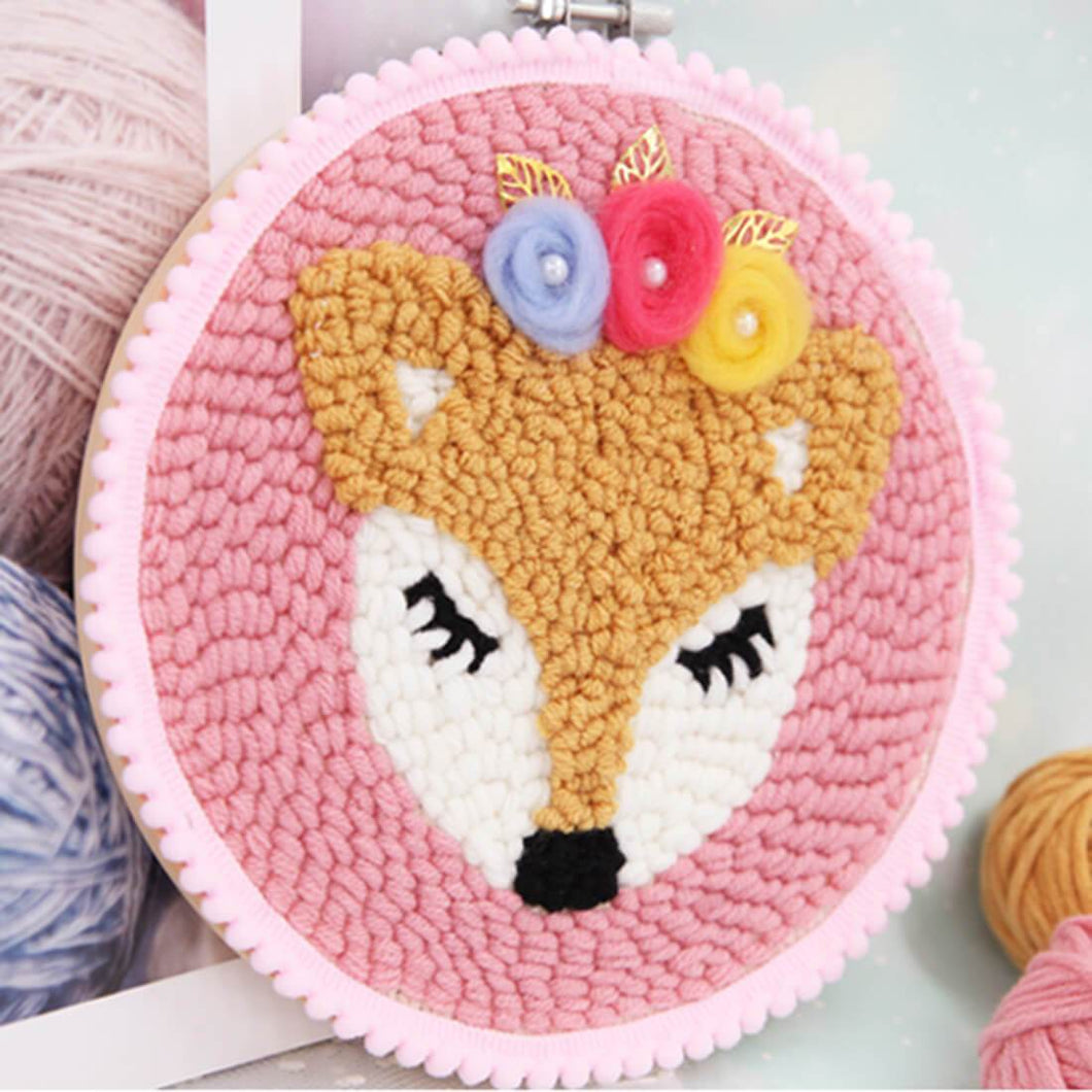 Bambi Deer DIY Rug Hooking Punch Needle Embroidery Hand Craft