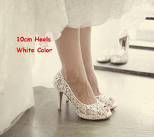 Load image into Gallery viewer, Bling Bling Flowers Wedding Shoes Pretty Stunning Heeled Bridal Dress Shoes Peep Toe White Lace Crystal Hand-crafted Prom Pumps
