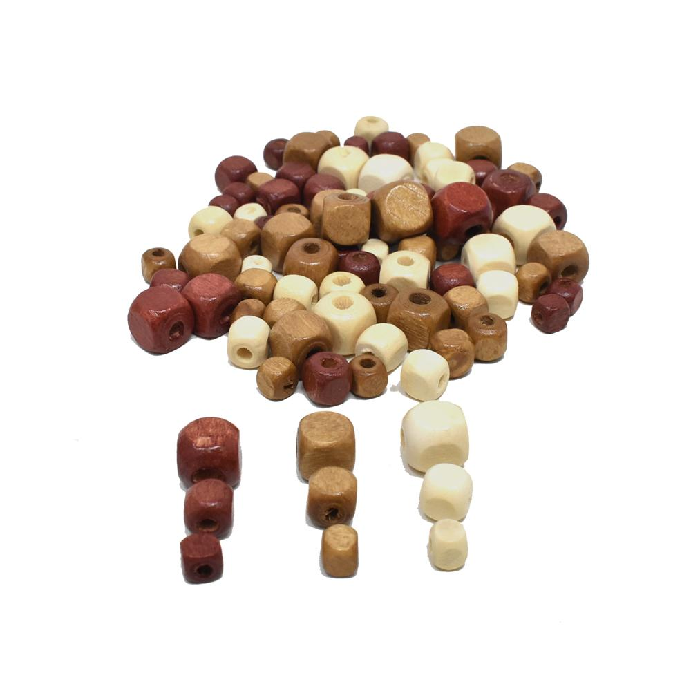 Assorted Medley of Natural Round Craft Wood Beads, 40-Gram