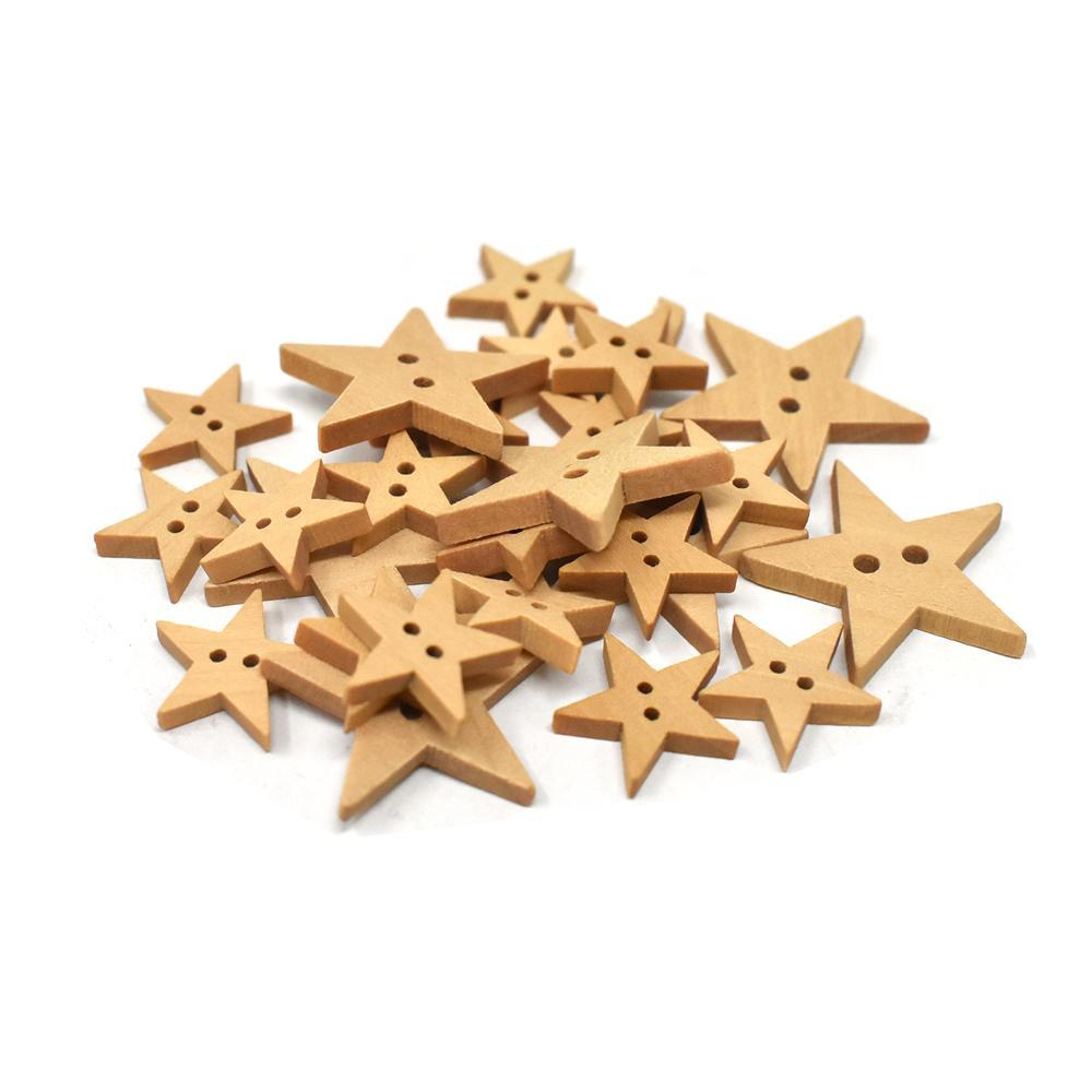 Assorted Craft Wood Star Buttons, Natural, 25-Piece