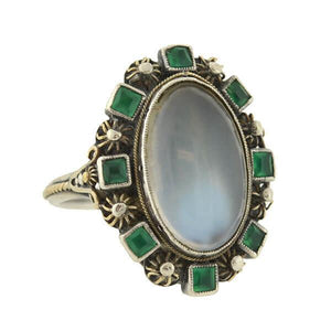 Arts & Crafts Sterling/14kt Moonstone Emerald Cluster Ring