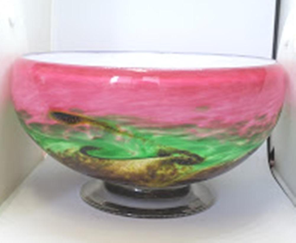 Arte Vargas Handcrafted Glass Footed Bowl