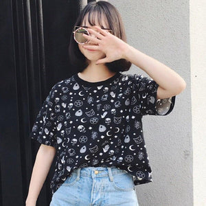 Blackest Gothic Tee Moon Witchcraft Cat Printed Harajuku Short T-Shirt Women Tops Loose Summer Skull T Shirt For Goth Girl