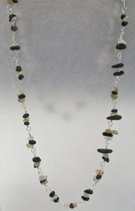 Beautiful handcrafted Quartz and Obsidian 925 silver necklace
