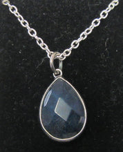 Load image into Gallery viewer, Beautiful handcrafted silver plated necklace with various colour teardrop Bezel Quartz