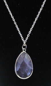 Beautiful handcrafted silver plated necklace with bezel purple quartz teardrop
