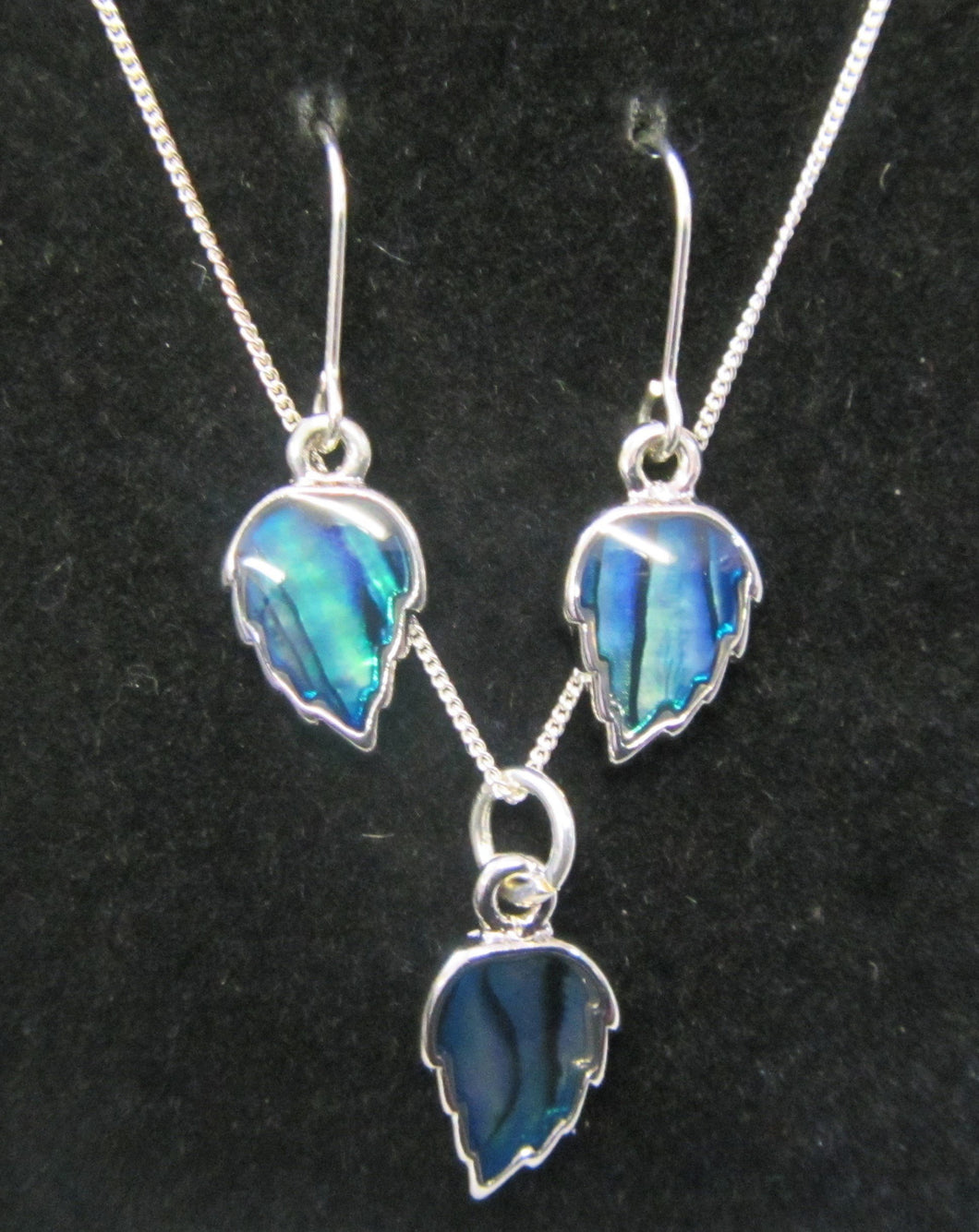 Beautiful handcrafted sterling silver blue abalone leaf jewellery set