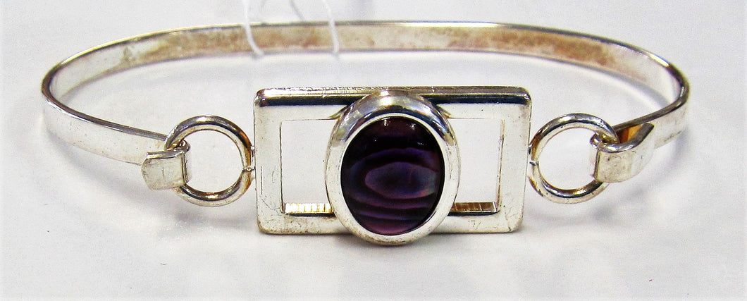 Beautiful handcrafted silver plated bangle with pink abalone