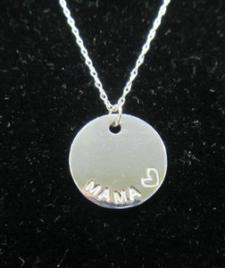 Beautiful handcrafted 925 sterling silver circle Mama necklace