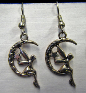 Beautiful handcrafted moon fairy earrings on sterling silver hooks