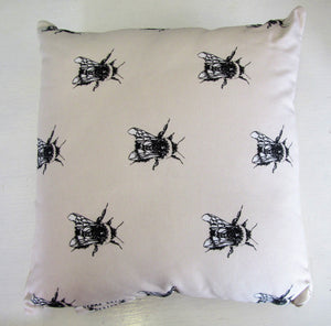 Beautiful handcrafted bee cushion with woven linen back