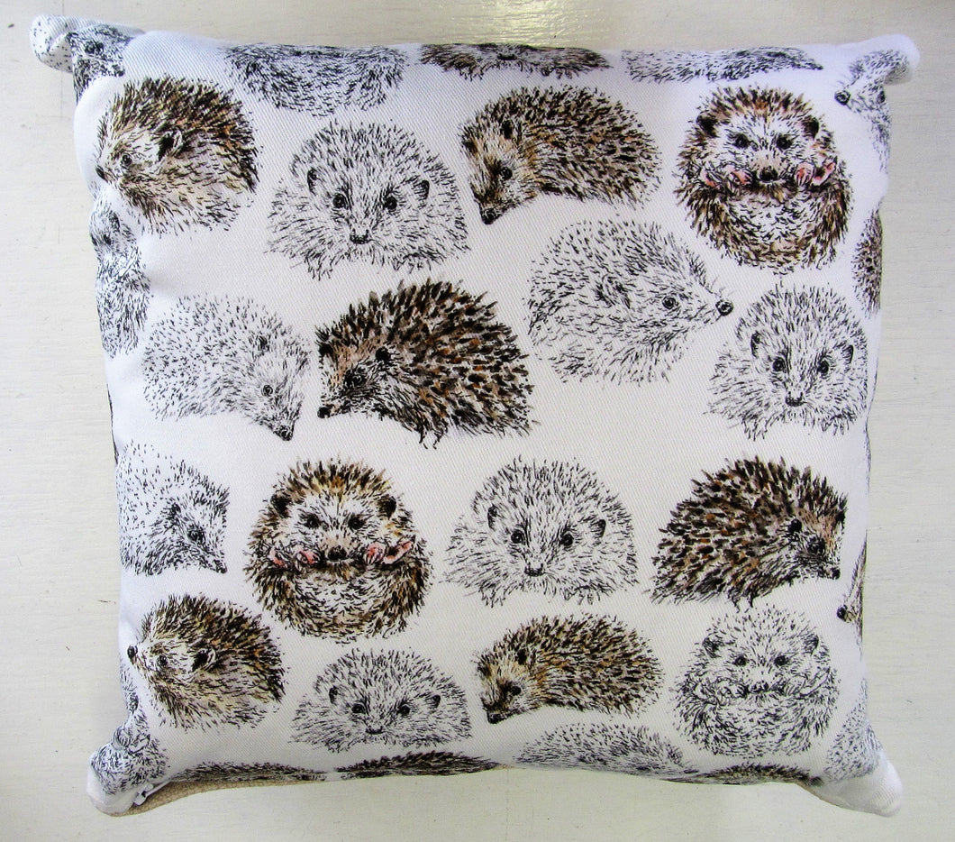 Beautiful handcrafted hedgehog cushion with woven linen back