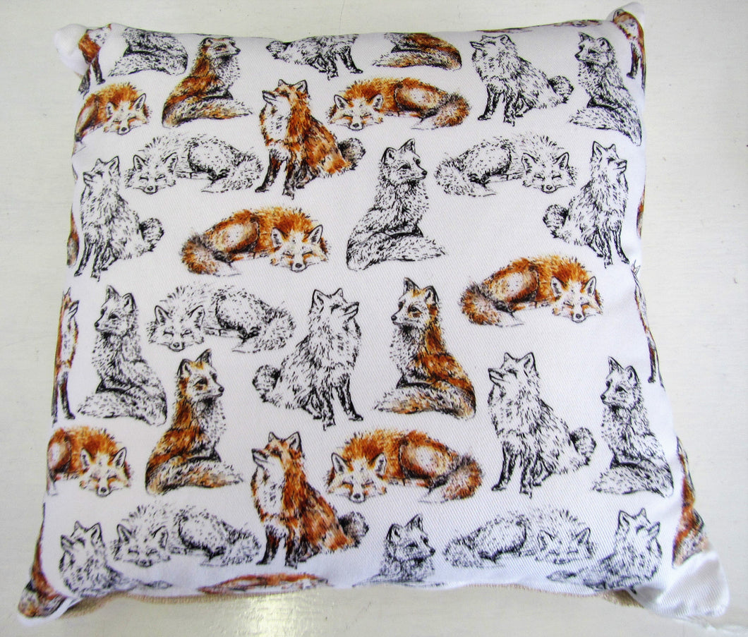 Beautiful handcrafted fox cushion with woven linen back
