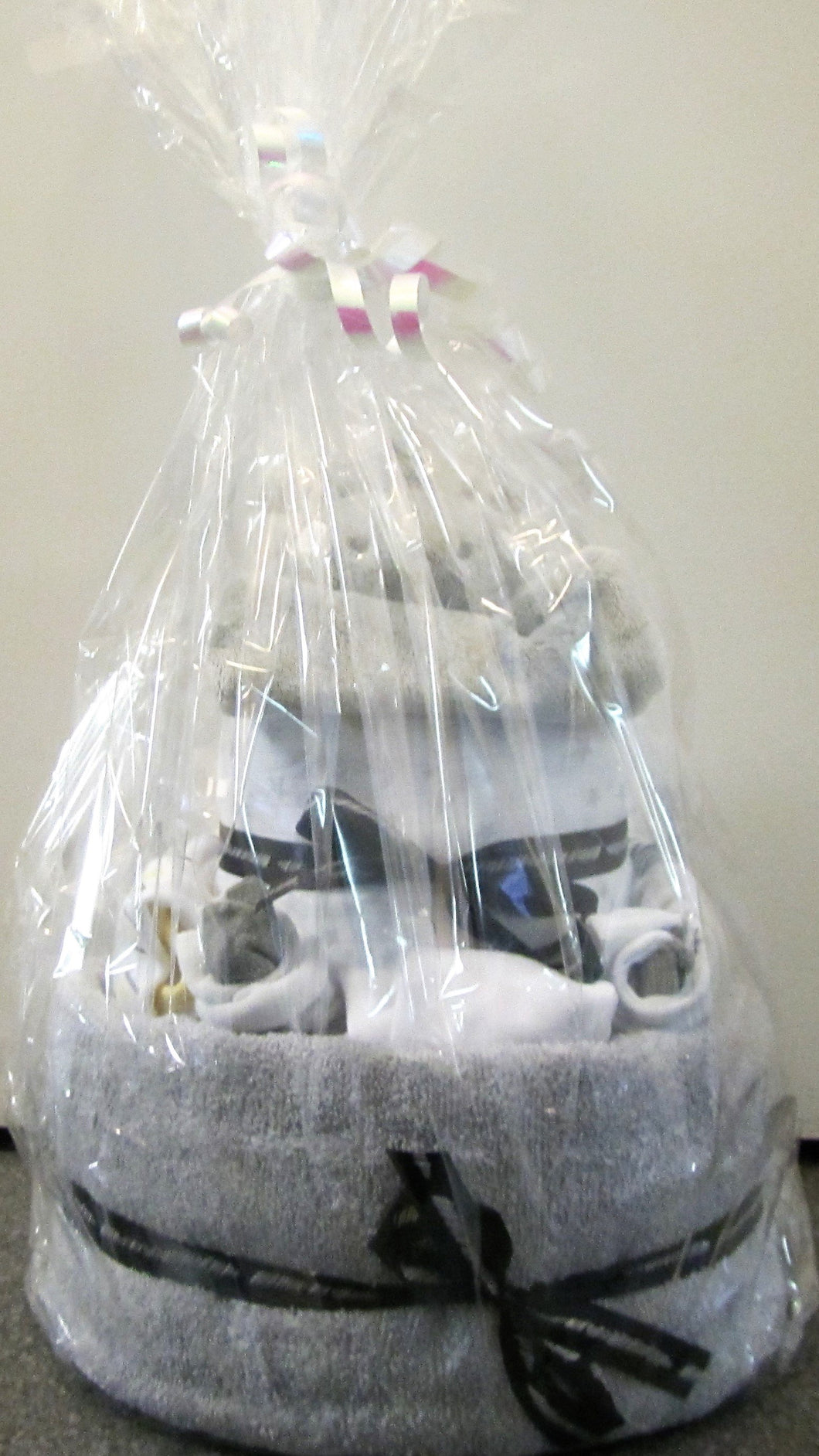 Beautiful handcrafted grey nappy cake gift wrapped