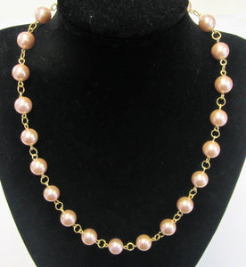 Beautiful handcrafted peach shell pearl knotted necklace with magnetic clasp