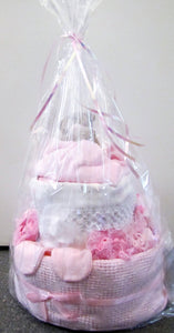 Beautiful handcrafted pink nappy cake gift wrapped