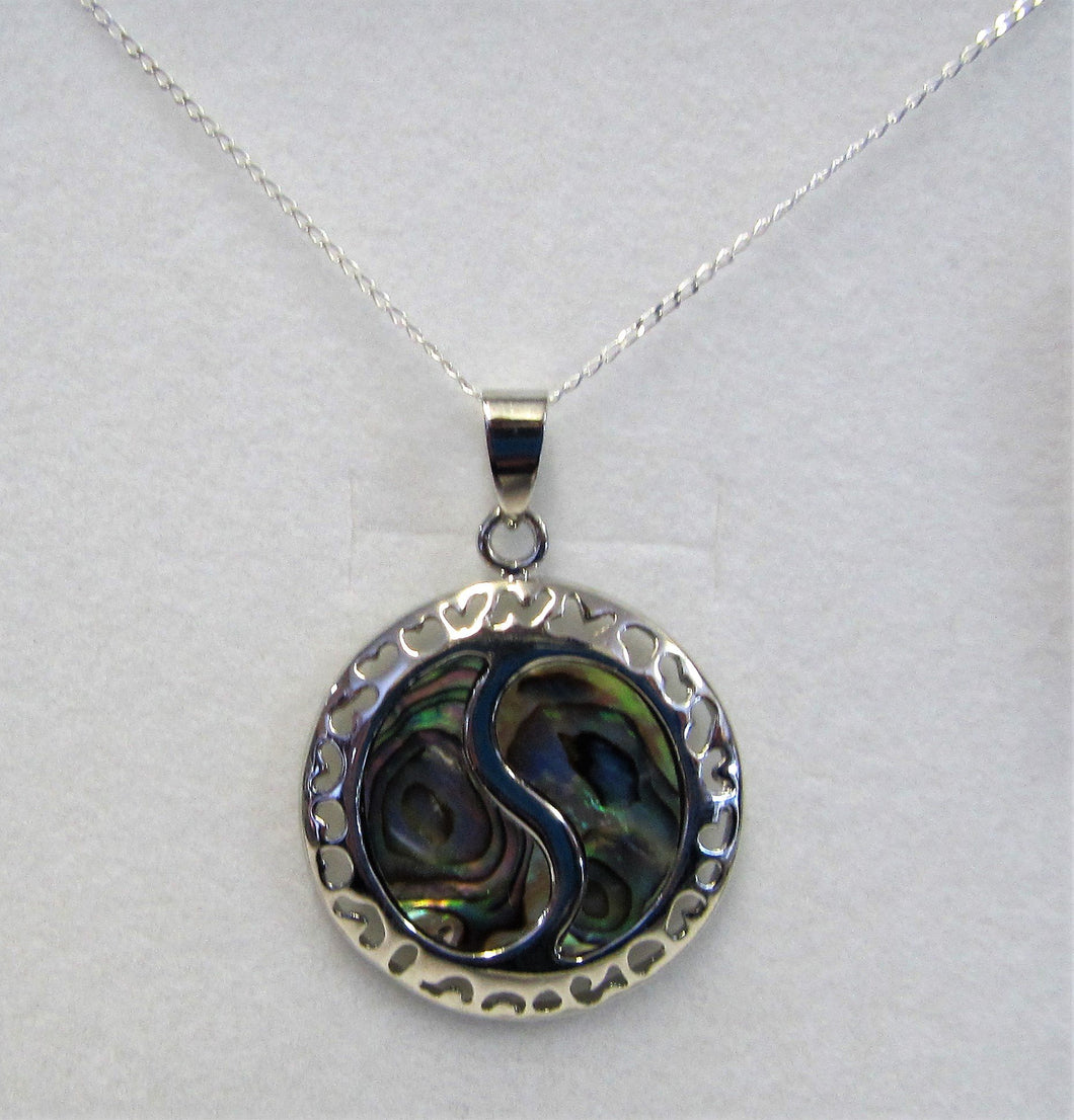 Beautiful handcrafted sterling silver necklace with abalone Yin and Yang pendant