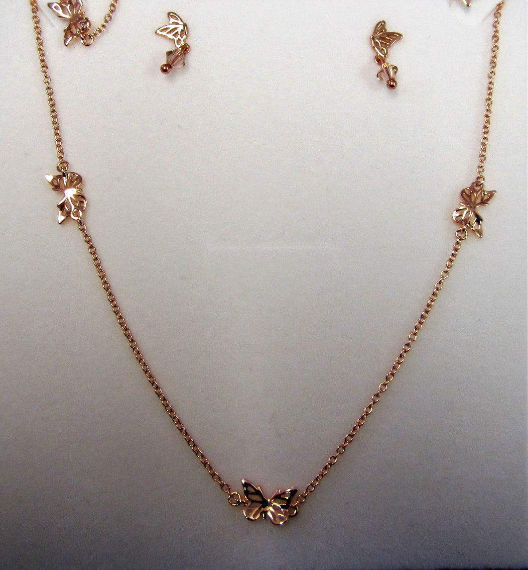 Beautiful handcrafted rose gold plated sterling silver butterfly jewellery set