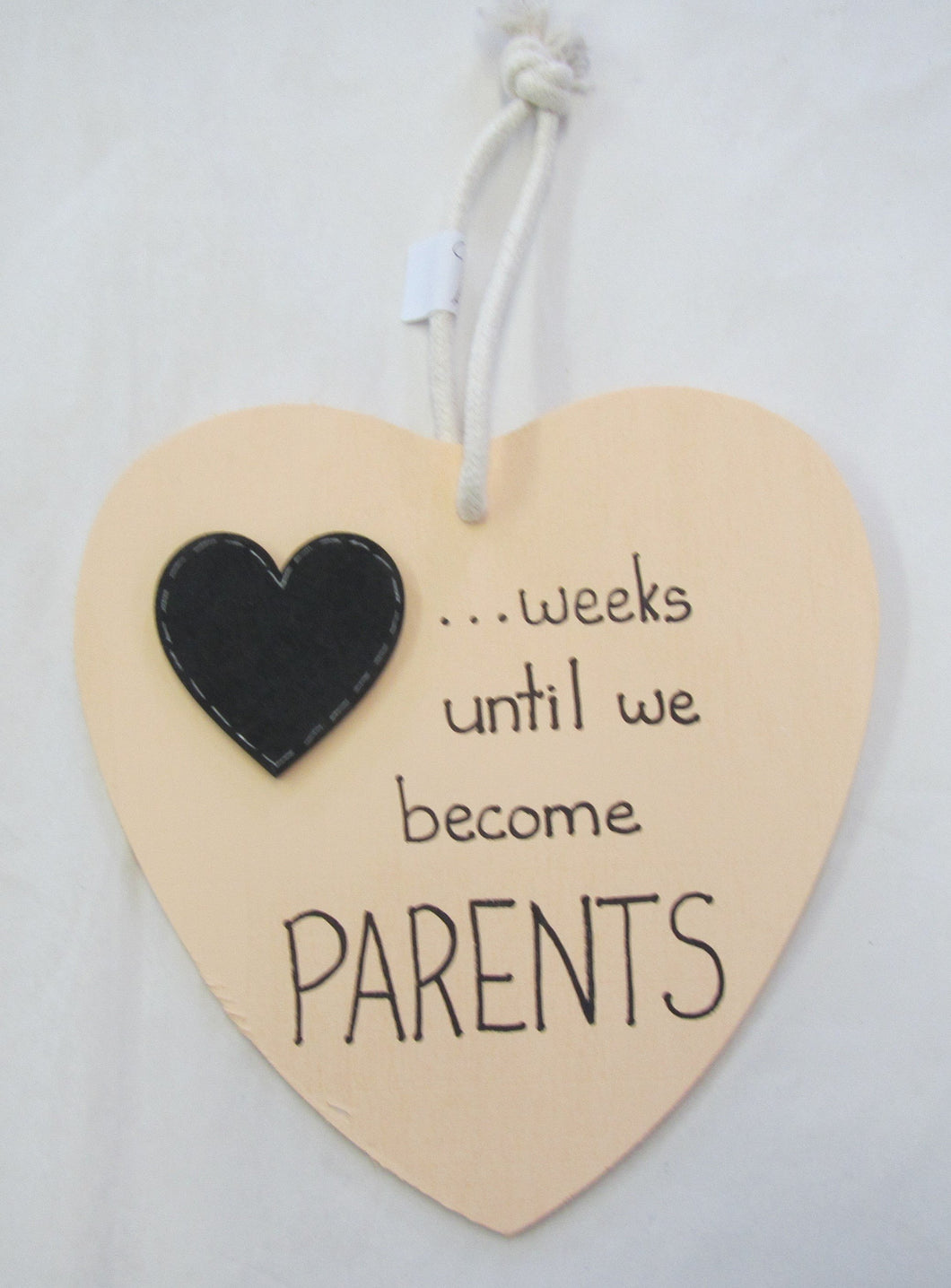 Beautiful handcrafted heart - weeks until we become parents