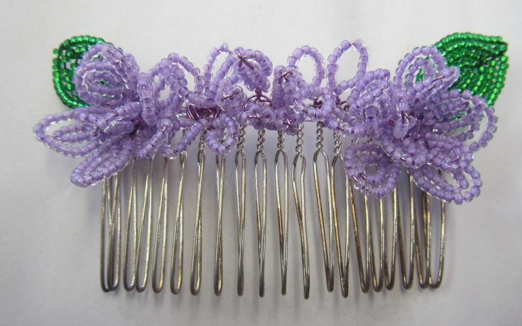 Beautiful handcrafted beaded flower hair slide