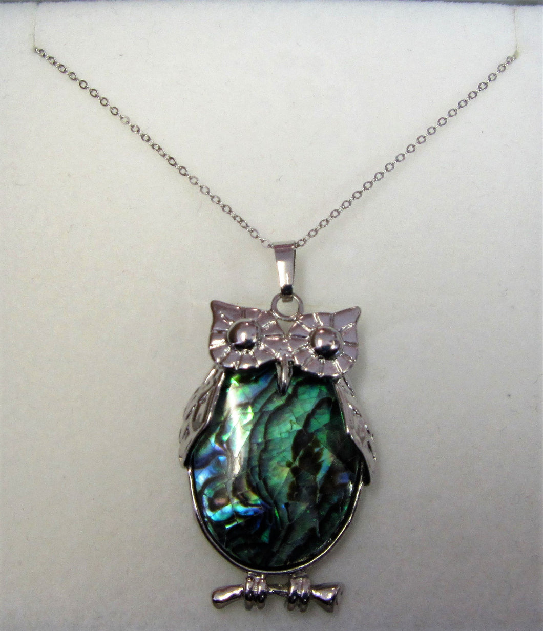 Beautiful handcrafted sterling silver necklace with abalone owl pendant