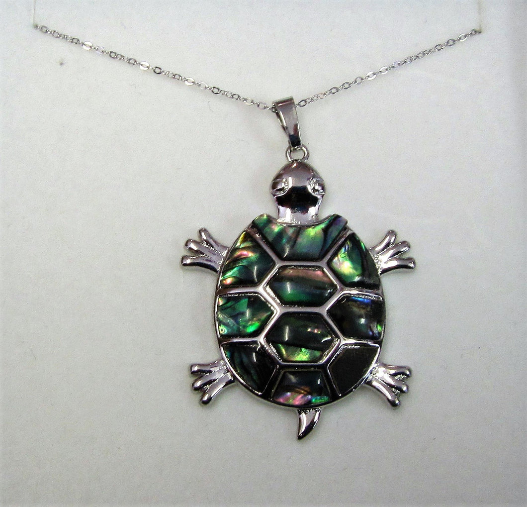 Beautiful handcrafted sterling silver necklace with abalone turtle pendant
