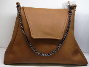 Beautiful handcrafted brown flux leather fabric handbag