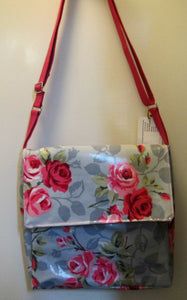 Beautiful handcrafted grey wax fabric with pink roses messenger bag