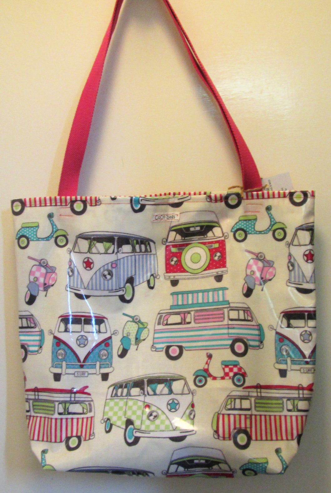 Beautiful handcrafted camper van wax fabric shopper bag with two handles