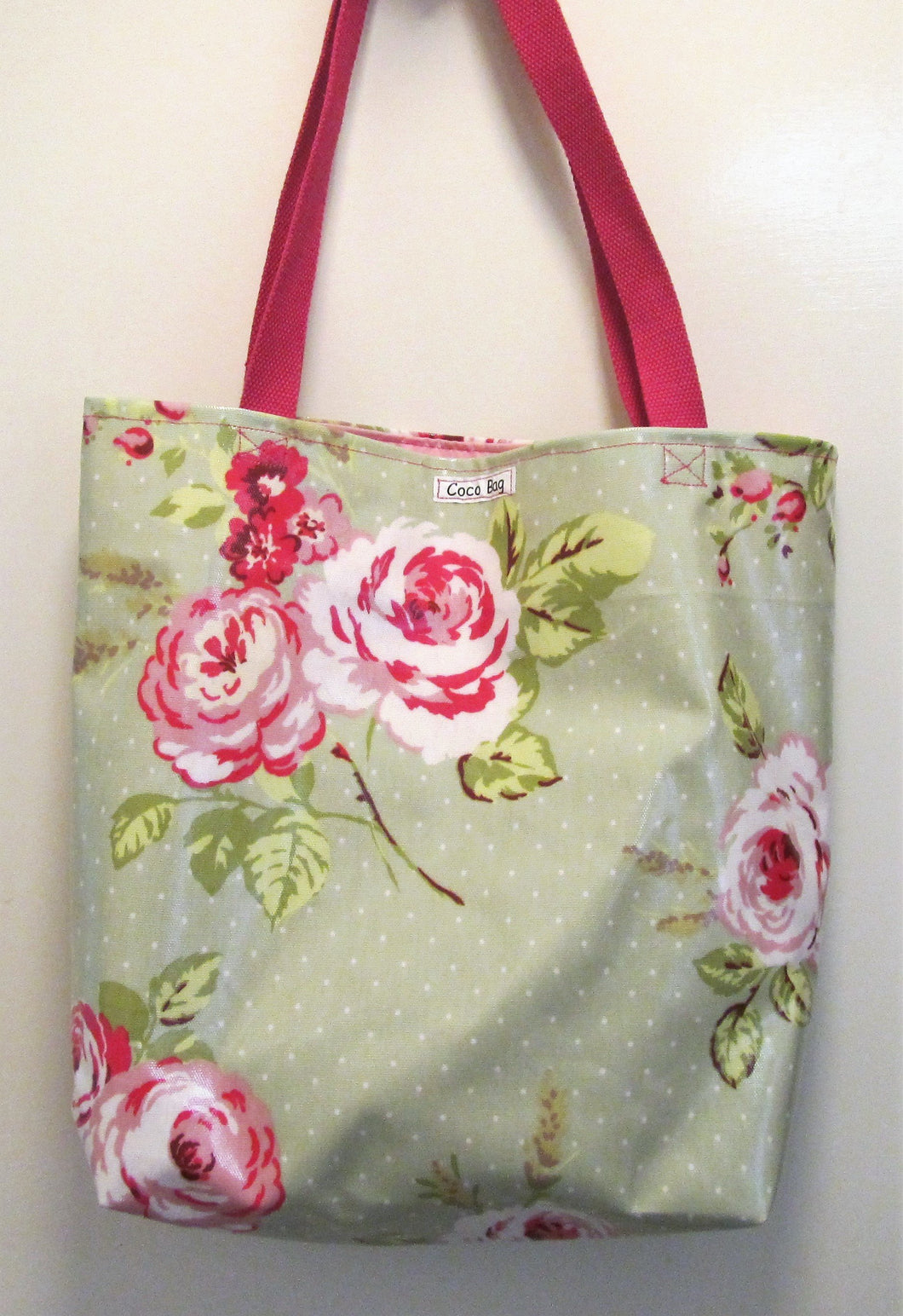 Beautiful handcrafted Green and pink floral wax fabric shopper with two handles