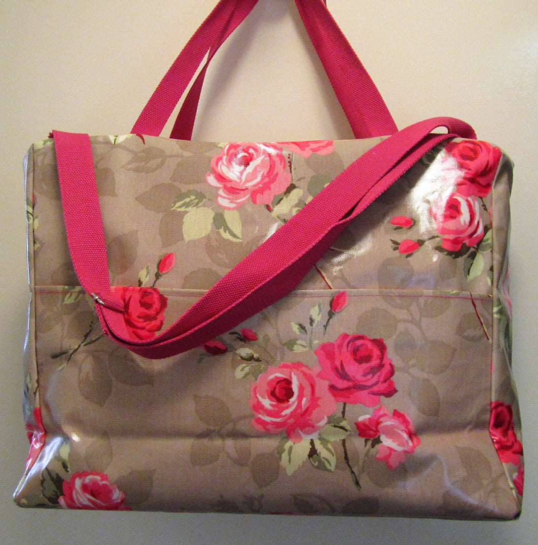 Beautiful handcrafted beige and pink floral fabric weekend bag
