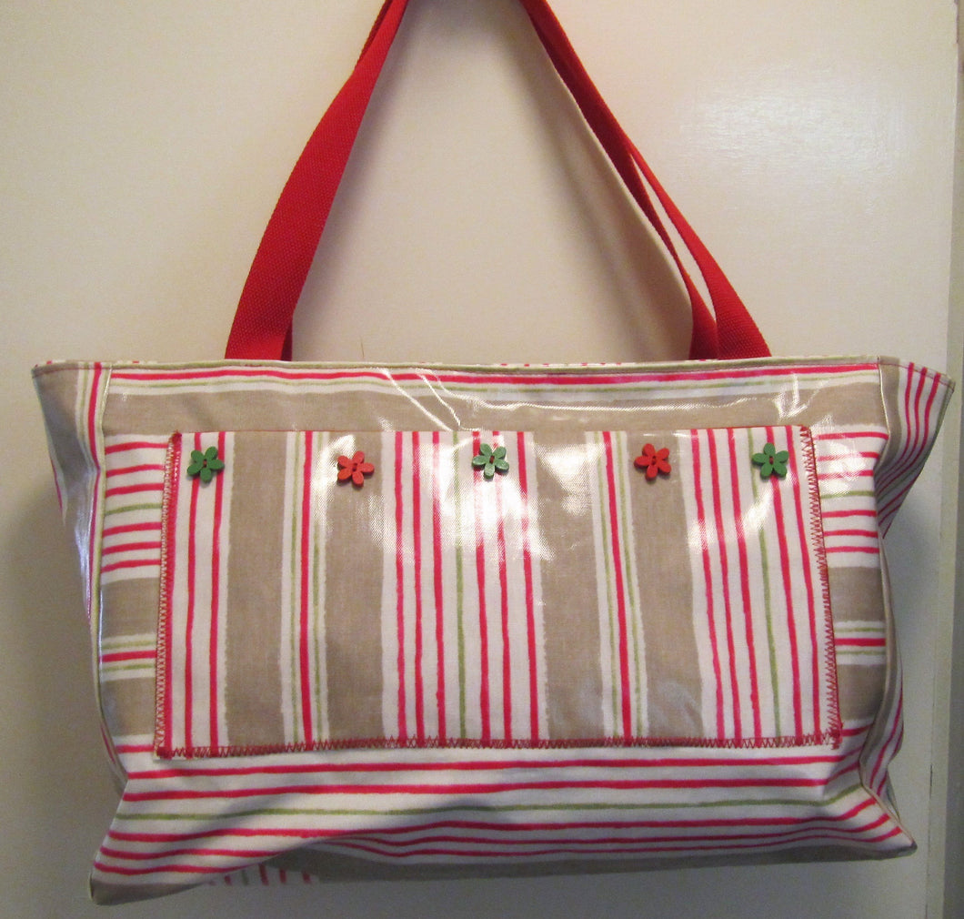 Beautiful handcrafted beige and red  striped wax fabric weekend bag