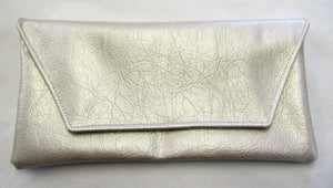 Beautiful handcrafted white shiny fabric evening bag