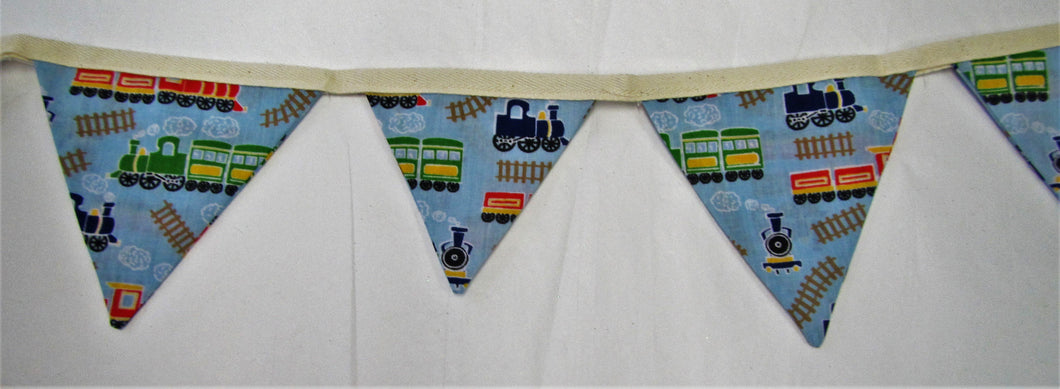 Beautiful handcrafted blue train fabric bunting