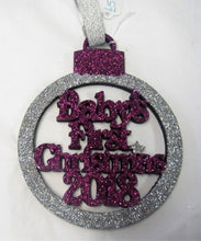 "Load image into Gallery viewer, Beautiful handcrafted Christmas glitter ""Baby's first Christmas"" Tree decorations"