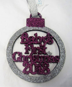 "Beautiful handcrafted Christmas glitter ""Baby's first Christmas"" Tree decorations"