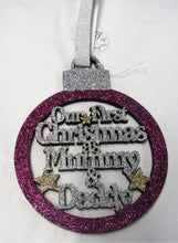 "Load image into Gallery viewer, Beautiful handcrafted Christmas ""First Christmas as Mummy & Daddy"" Tree decorations"