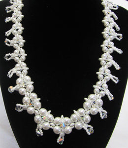 Beautiful handcrafted swarovski crystal and pearl necklace