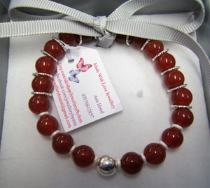 Beautiful handcrafted bracelet with red carnelian and sterling silver