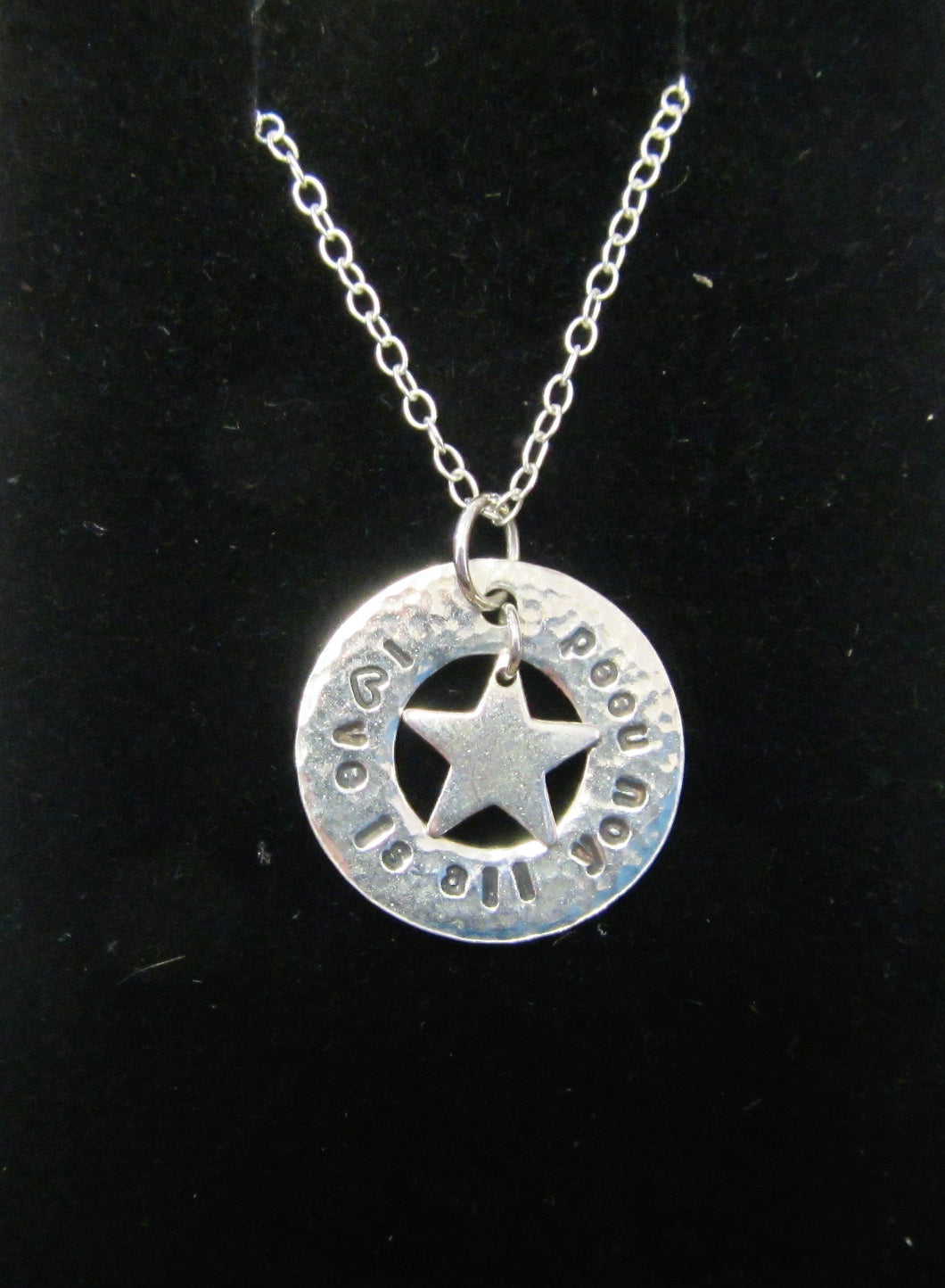 Beautiful handcrafted 925 sterling silver circle and star Love is all you need necklace