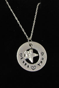 Beautiful handcrafted 925 sterling silver Circle and star Love you necklace