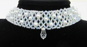 Beautiful handcrafted Pearl and seed bead with swaroviski crystal choker necklace