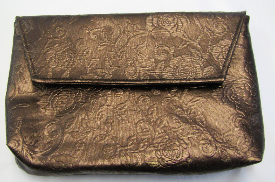 Beautiful handcrafted bronze faux leather floral clutch bag