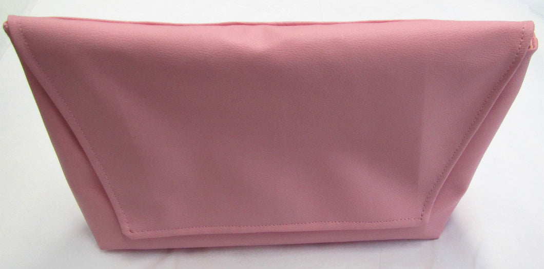 Beautiful handcrafted pink faux leather clutch bag