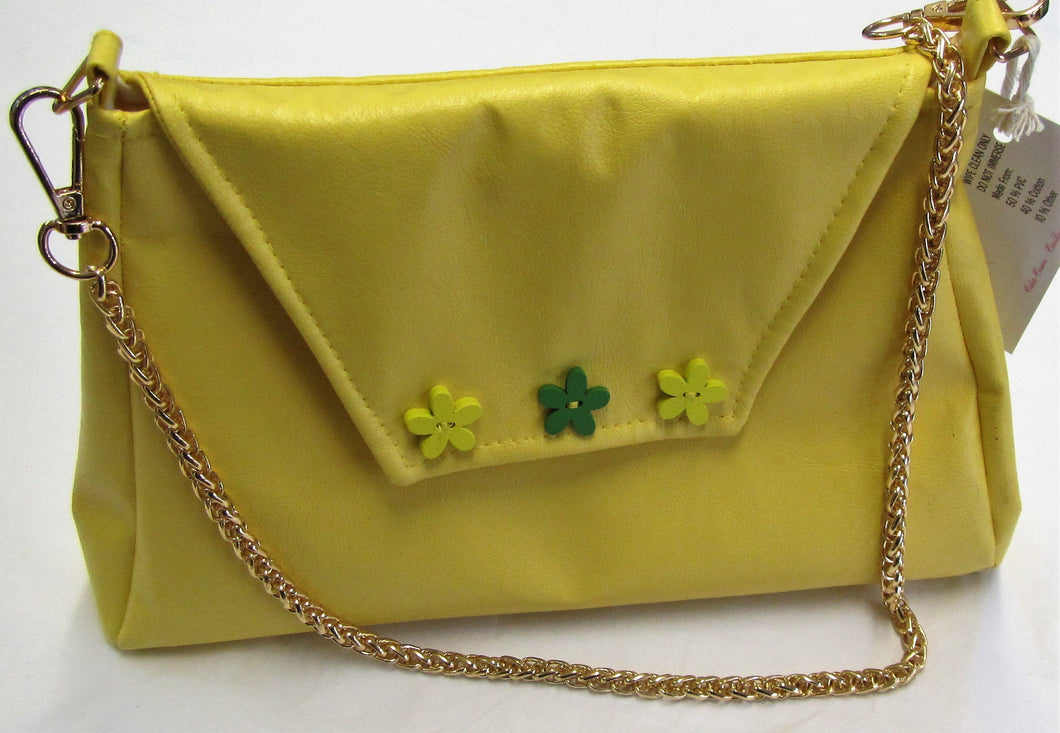 Beautiful handcrafted yellow flux leather fabric handbag