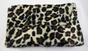Beautiful handcrafted fury leopard print clutch bag